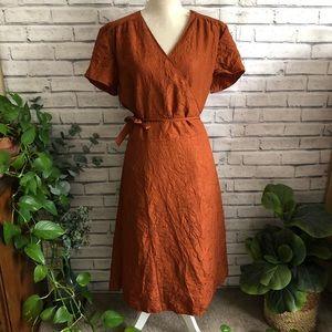 J Jill • Crushed Silk Orange Wrap Midi Dress 323